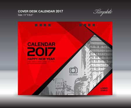 Bureaukalender voor 2017 jaar, rode omslag Bureaukalender, folder, vector, Brochurevlieger, poster, advertentie, boek