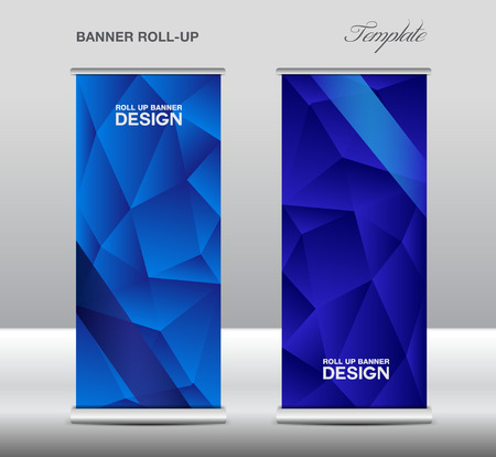 Blue Roll up banner template vector, polygon background, roll up stand, banner design, flyer, advertisement Illustration