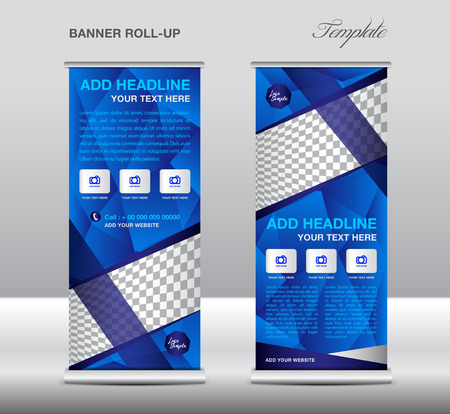 Blue Roll up banner template vector, roll up stand, banner design, flyer, advertisement, polygon background