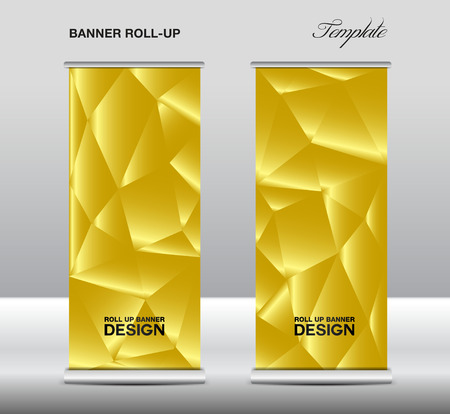 Gold Roll up banner template vector, polygon background, roll up stand, banner design, flyer, advertisement Illustration