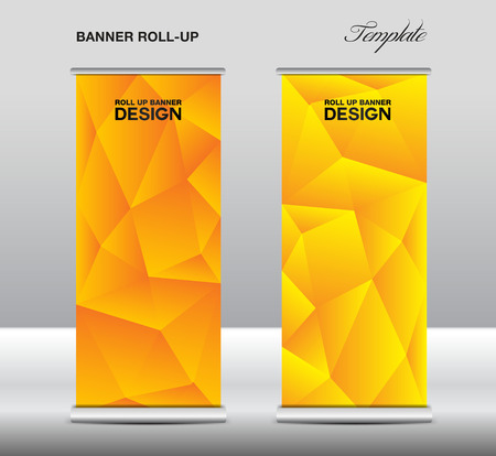 newspaper roll: Yellow Roll up banner template vector, polygon background, roll up stand, banner design, flyer, advertisement