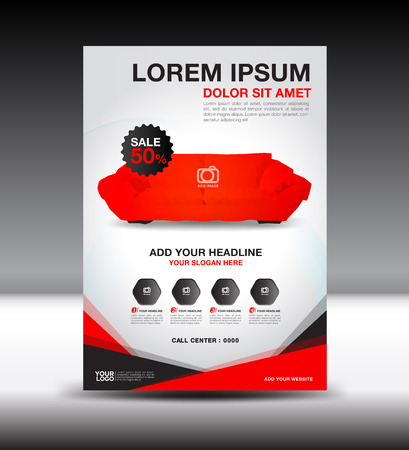 Red business brochure flyer design layout template in A4 size, furniture magazine ads, leaflet template, poster, cover, book, advertiement