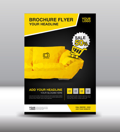 Yellow business brochure flyer design layout template in A4 size, furniture magazine ads, leaflet template, poster, cover, book, advertisement