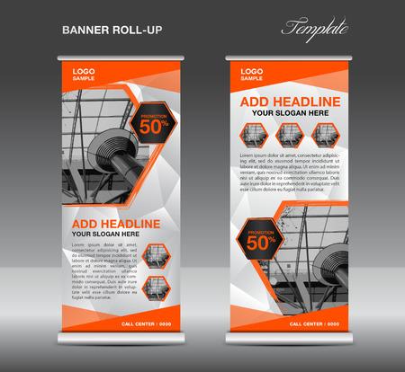 backdrop design: Orange Roll up banner template vector, roll up stand, banner design, flyer, advertisement, polygon background, poster Illustration