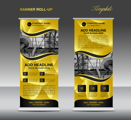Gold Roll up banner template vector, roll up stand, banner design, flyer, advertisement, polygon background, corporate roll up