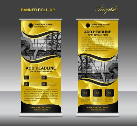 L'oro rimboccarsi striscione template, rotola in su il basamento, design di banner, flyer, annuncio pubblicitario, fondo poligono, roll up aziendale Vettoriali
