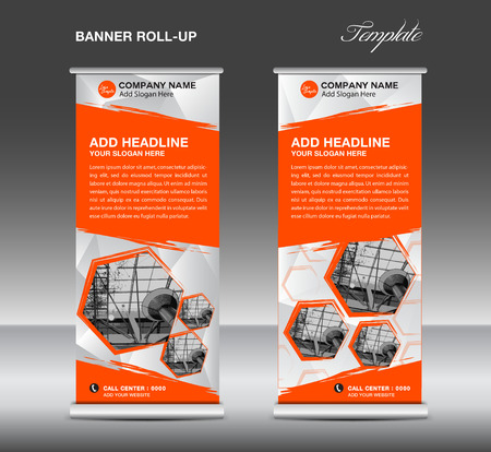 Oranje roll up banner sjabloon vector, roll up stand, banner ontwerp, flyer, advertentie, veelhoek achtergrond, corporate roll up Stock Illustratie