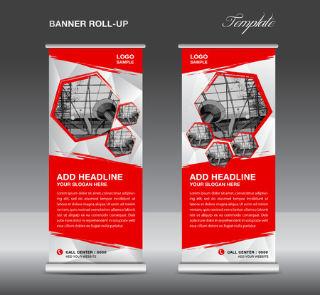 Red Roll up banner template vector, roll up stand, banner design, flyer, advertisement, polygon background, corporate roll up