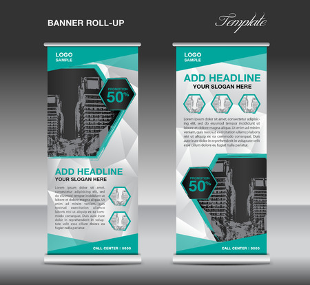 backdrop design: Green Roll up banner template vector, roll up stand, banner design, flyer, advertisement, polygon background
