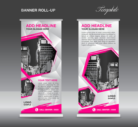 Pink Roll up banner template vector, roll up stand, banner design, flyer, advertisement, polygon background, poster