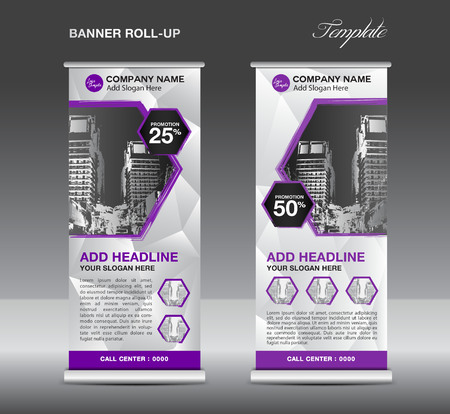 Purple Roll up banner template vector, roll up stand, banner design, flyer, advertisement, polygon background, poster Ilustração