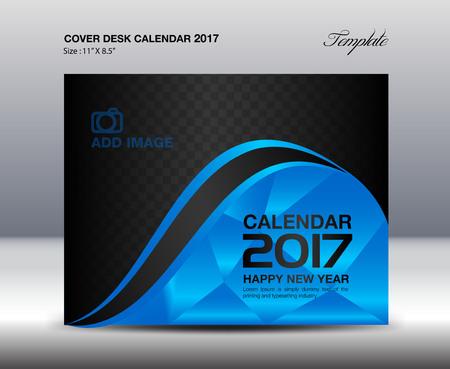 desk calendar: Desk Calendar for 2017 Year, Blue Cover Desk Calendar, book, Business flyer,vector, advertisement, leaflet,catalog