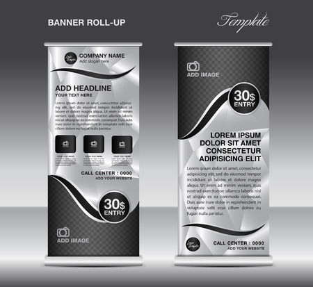 display stand: Black and White Roll up banner template vector, roll up stand, banner design, stand design, display, polygon background