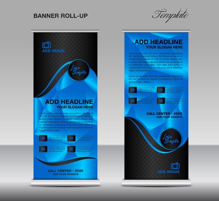 Blue Roll up banner modello vettoriale, roll up stand, banner design, stand progettazione, display, sfondo poligono, roll up aziendale, design flyer, pubblicità Vettoriali
