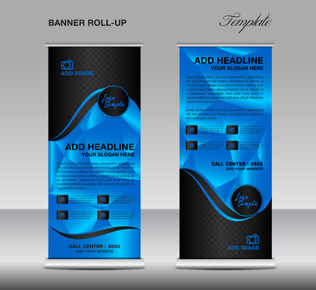 Blue Roll up banner template vector, roll up stand, banner design, stand design, display, polygon background, corporate roll up, flyer design, advertisement