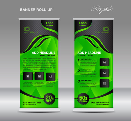 display stand: Green Roll up banner template vector, roll up stand, banner design, stand design, display, polygon background Illustration