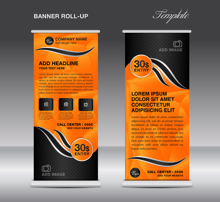 display stand: Orange Roll up banner template vector, roll up stand, banner design, stand design, display, polygon background