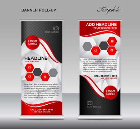display stand: Red Roll up banner template vector, roll up stand, banner design, stand design, display, polygon background