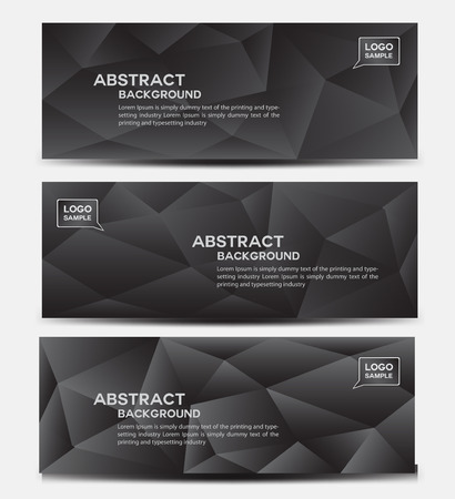 Black banner design vector , polygon background, Abstract background, corporate business banner template