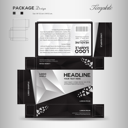 Supplements and Cosmetic box design,Package design,template,box outline, spa, cosmetics, beauty, business package, polygon background, black package, vector illustration
