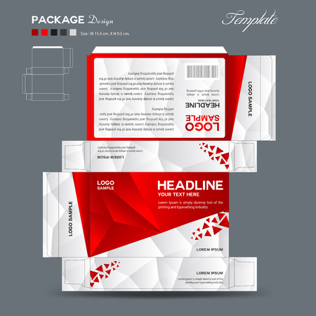 Supplements and Cosmetic box design,Package design,template,box outline, spa, cosmetics, beauty, business package, polygon background, red package, vector illustration