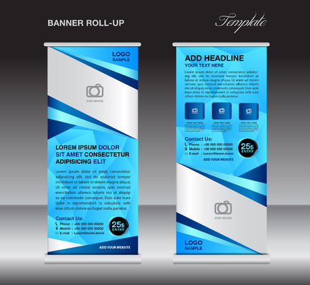 display stand: Blue roll up banner stand template, stand design,banner design, pull up,  flyer template, advertisement, polygon background, display layout
