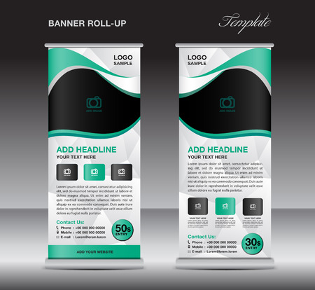 display stand: Green roll up banner stand template, stand design,banner design, pull up,  flyer template, advertisement, polygon background, display layout