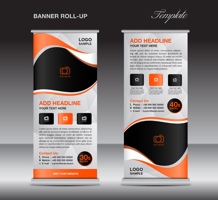 display stand: Orange roll up banner stand template, stand design,banner design, pull up,  flyer template, advertisement, polygon background, display layout