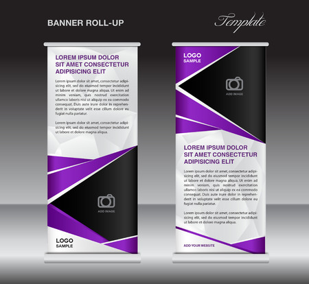 display stand: Purple roll up banner stand template, stand design,banner design, pull up,  flyer template, advertisement, polygon background, display layout Illustration