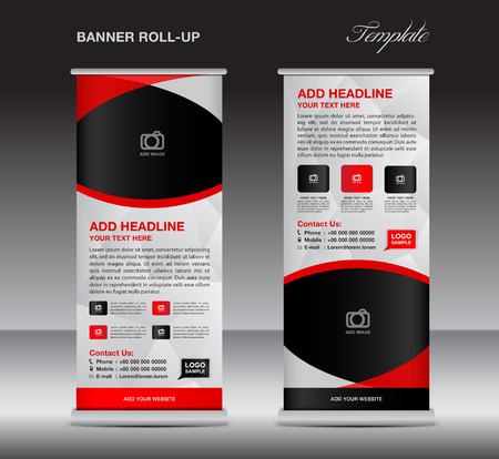 display stand: Red roll up banner stand template, stand design,banner design, pull up,  flyer template, advertisement, polygon background, display layout Illustration