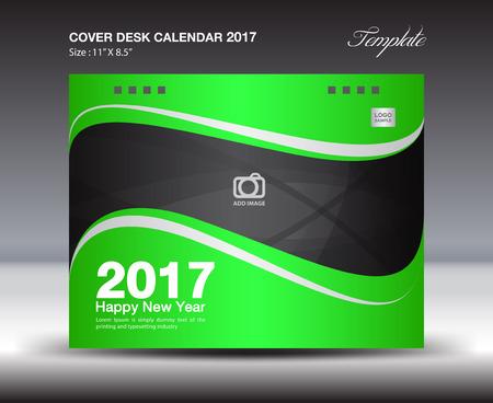 Cover Desk Calendar 2017 template, cover design, flyer design, business flyer, book cover, blue cover Illustration