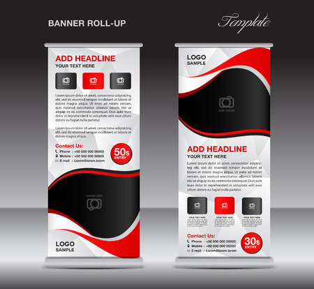 Rood oprolbare spandoeksjabloon, stand-sjabloon, standontwerp, banner ontwerp, pull-up, advertentie, weergave sjabloon