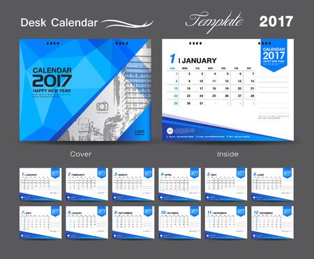 set Desk Calendar 2017 template design, cover Desk Calendar, flyer design, Blue cover template Illustration