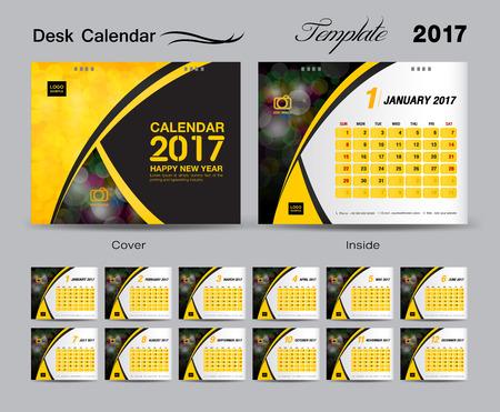 Desk Calendar 2017 template design set, cover Desk Calendar, yellow cover, flyer design Illustration