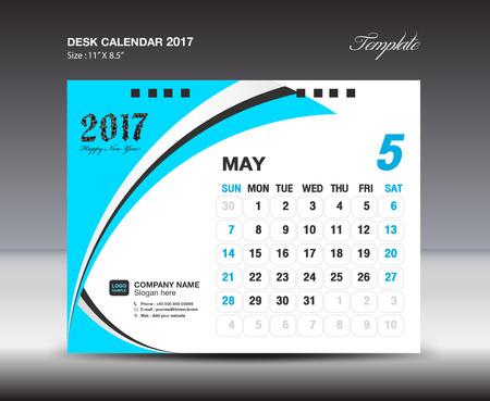 September Desk Calendar 2017 Design Template Blue Calendar 2017