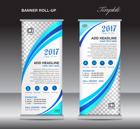 display stand: Blue roll up banner template, banner design, stand template, display template, pull up, advertisement,  flyer design
