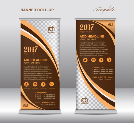 display stand: Brown roll up banner template, banner design, stand template, display template, pull up, advertisement,  flyer design Illustration