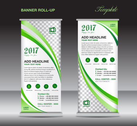 pull: Green  roll up banner template, banner design, stand template, display template, pull up, advertisement,  flyer design Illustration