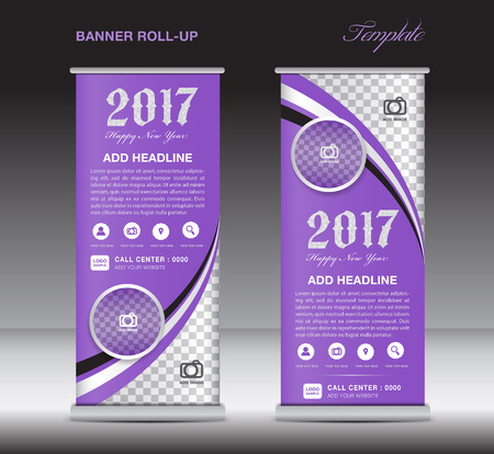 display stand: Purple roll up banner template, banner design, stand template, display template, pull up, happy new year 2017
