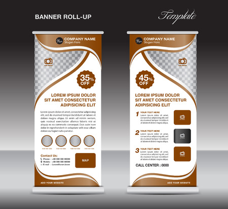 Brown Roll up banner, stand template, banner design, cosmetics banner, spa roll up, pull up, flyer design Illustration