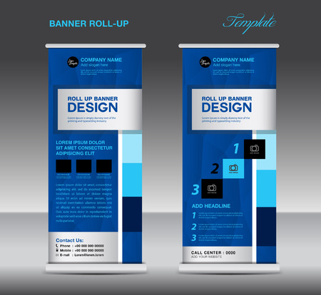 Blue Roll Up Banner template vector illustration, standy design, display, advertisement, pull up, banner template, polygon background Illustration