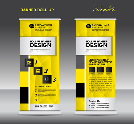 display stand: Yellow and black Roll Up Banner template, stand layout, flyer design, advertisement, display vector,  pull up, banner template, polygon background Illustration