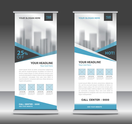 Blue roll up business brochure flyer banner design vertical template vector, x-stand, flag-banner, advertisement template