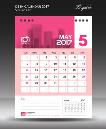 May Desk calendar 2017, Pink Calendar 2017, vertical calendar 2017 size 6 x 8 inch vector template