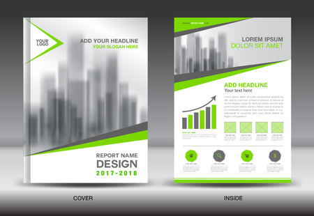 page layout: Green Cover Annual report brochure flyer template creative design, cover design cover and inside page layout, infographics vector