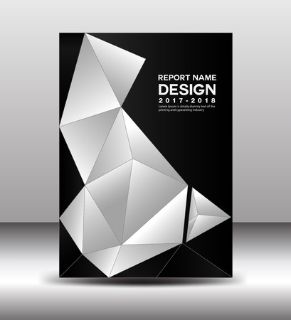 Cover Annual report template vector, business brochure flyer, Black and white cover design, book cover,  polygon background