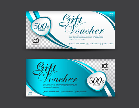 Blue Gift Voucher Template, Coupon Design, Gift Certificate ...