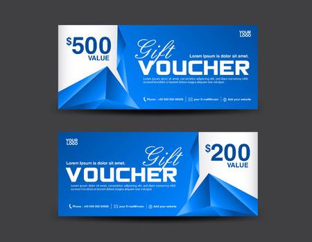 Cadeaubon sjabloon, coupon ontwerp, blauwe cadeaubon, kaartjesjabloon, veelhoek achtergrond Stock Illustratie
