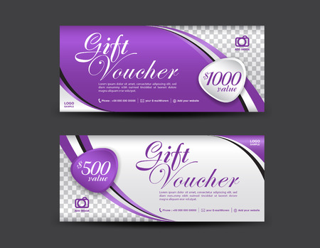 Purple Gift Voucher template, coupon design, Gift certificate, ticket template, discount voucher layout