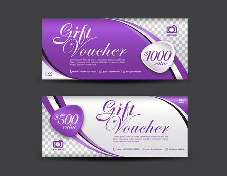 Purple Gift Voucher template, coupon design, Gift certificate, ticket template, discount voucher layout